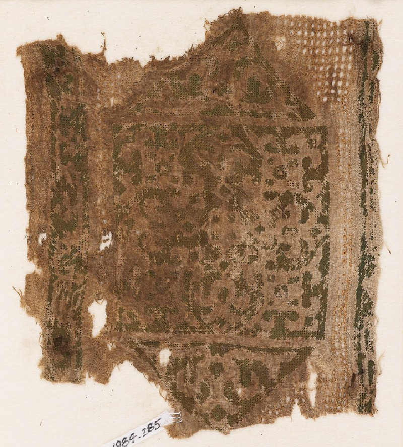 Textile fragment with cartouche, trefoils, and leaves (EA1984.285, front            )