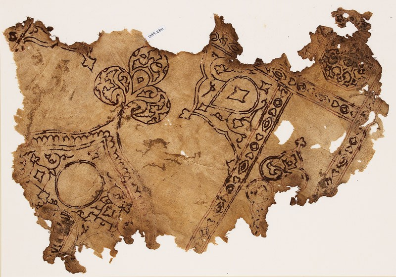 Textile fragment with remains of a large medallion with a trefoil finial (EA1984.288, front            )