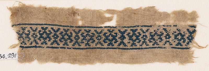 Textile fragment with X-shapes and hooks (front            )