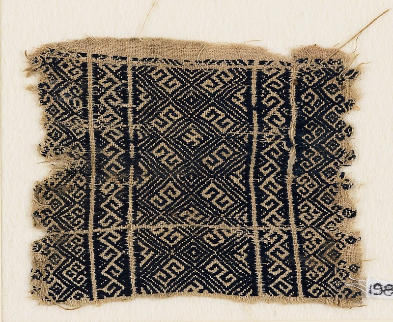 Textile fragment with diamond-shapes and S-shapes (EA1984.297, front            )