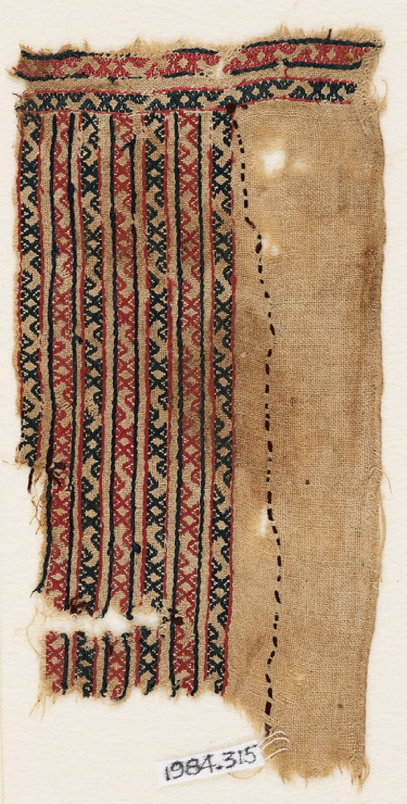 Textile fragment with bands of S-shapes and diamond-shapes (EA1984.315, front            )