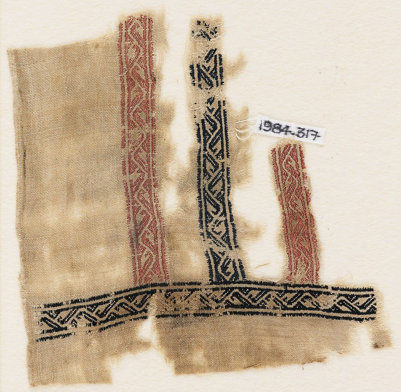 Textile fragment with bands of vines and leaves, probably from a garment