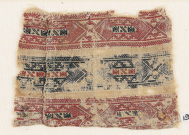 Textile fragment with bands of interlocking diamond-shapes (EA1984.330, front            )
