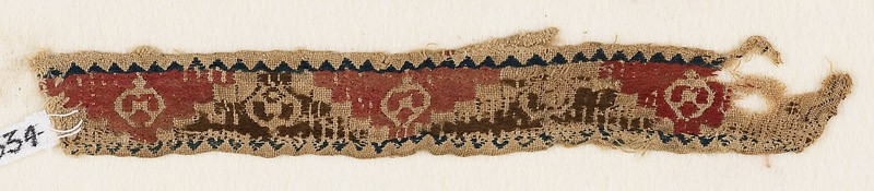 Textile fragment with triangles, roundels, and pseudo-inscription (front            )