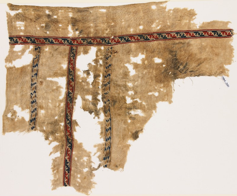 Textile fragment with bands of leaves and lozenges (EA1984.340, front            )