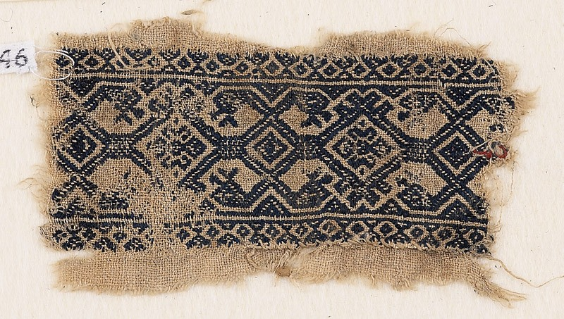 Textile fragment with interlace, and heads of serpents or birds