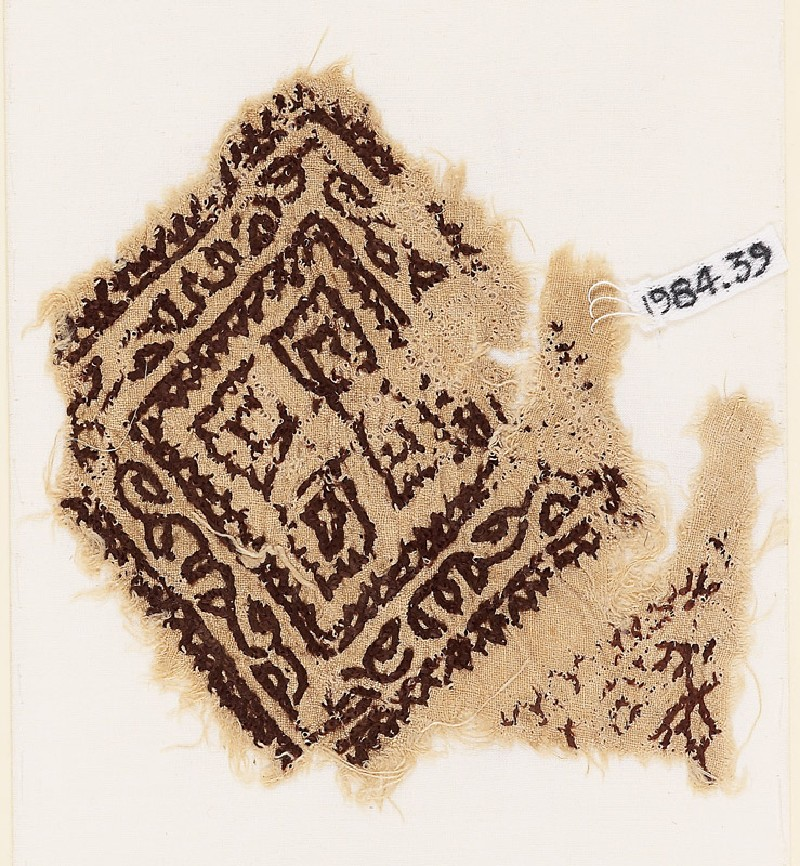 Textile fragment with square, vine, and quatrefoil (EA1984.39, front           )