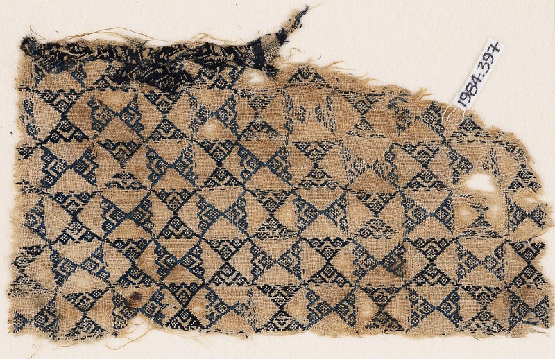 Textile fragment with linked triangles (EA1984.397, front            )