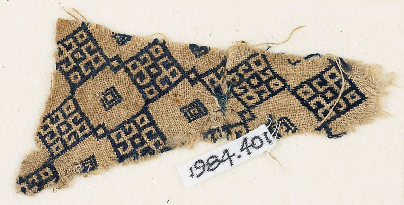 Textile fragment with linked diamond-shapes (EA1984.401, front            )
