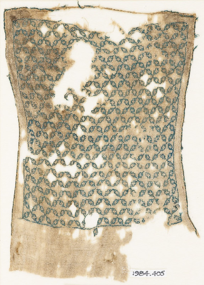 Textile fragment with linked quatrefoils, possibly from a sash or turban cloth (front            )