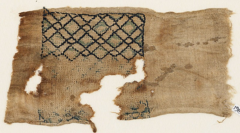 Textile fragment with grid of diagonal lines (EA1984.410, front            )