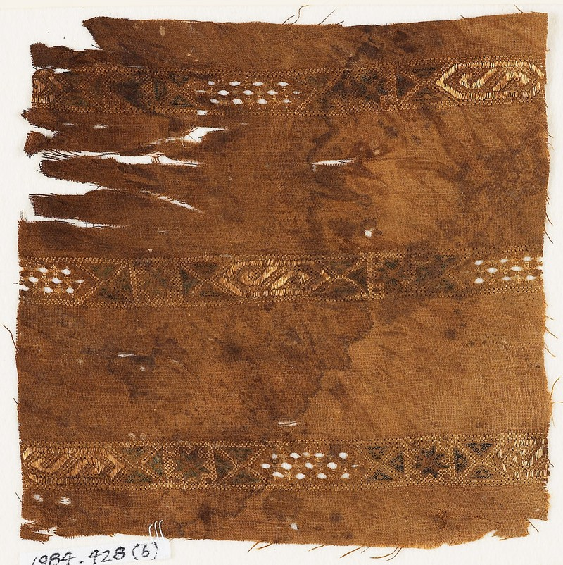 Textile fragment with three bands of cartouches (EA1984.428.b, front              )