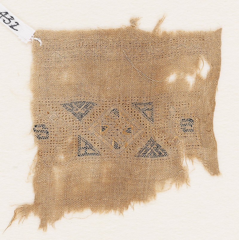 Textile fragment with band framed by triangles (EA1984.432, front            )
