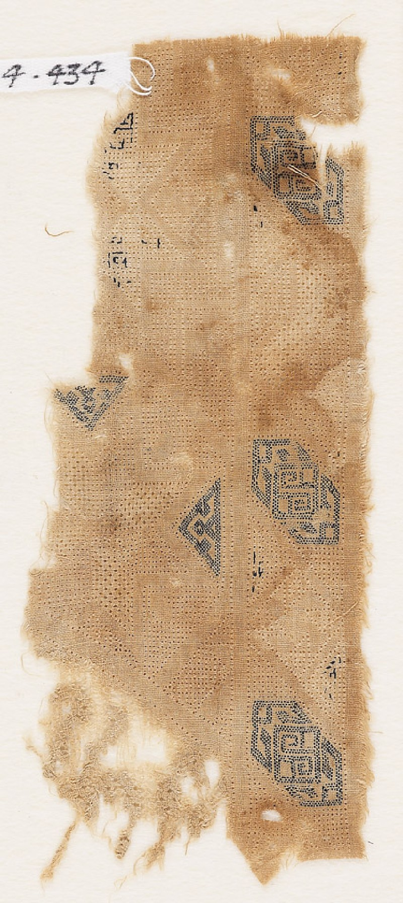 Textile fragment with three cartouches