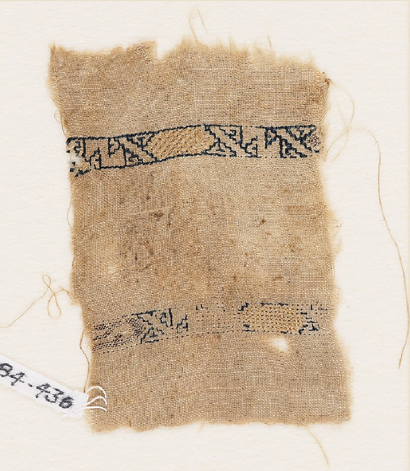 Textile fragment with two bands with cartouches and diagonal lines