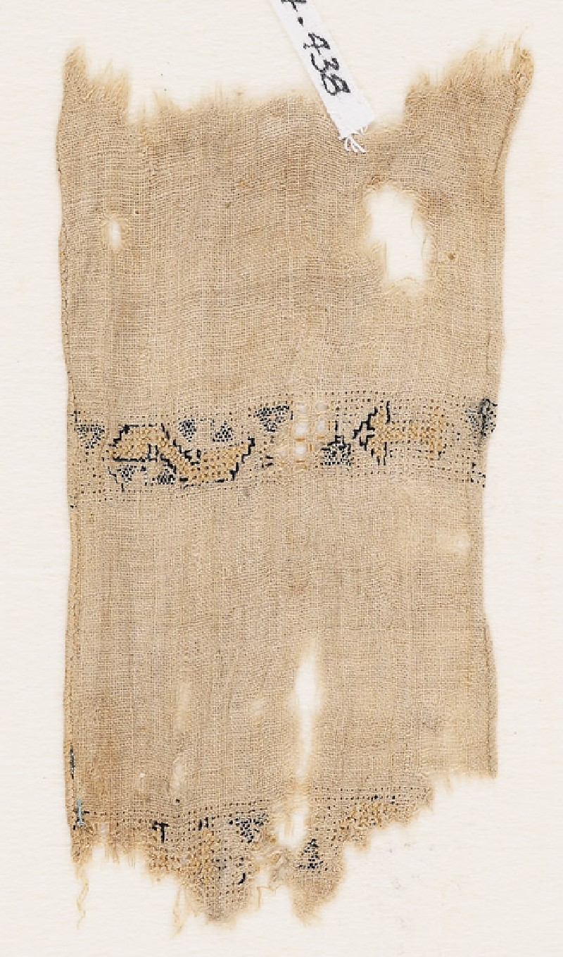 Textile fragment with two parallel bands (front            )