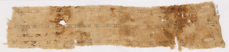 Textile fragment with three bands of hexagons