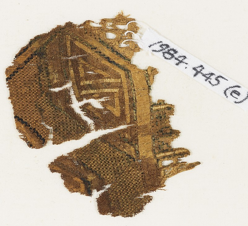 Textile fragment, possibly from a sash or shawl (front              )