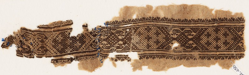 Textile fragment with hexagons linked by diamond-shapes (EA1984.456, front            )