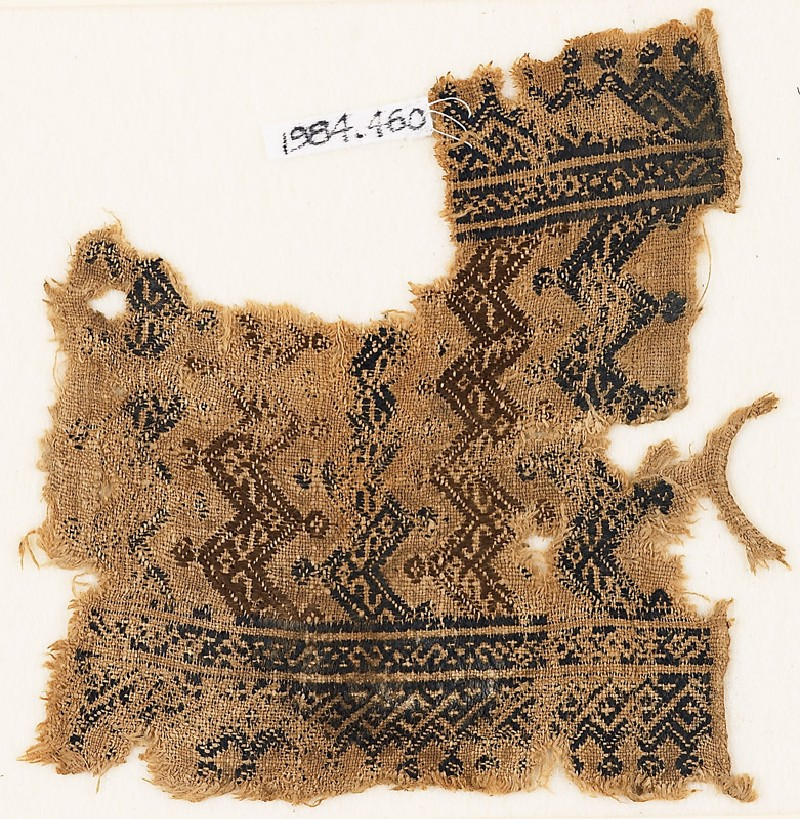 Textile fragment with rows of chevrons