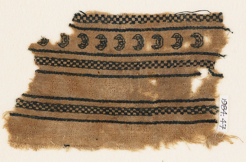 Textile fragment with crescents and chequers (EA1984.47, front           )