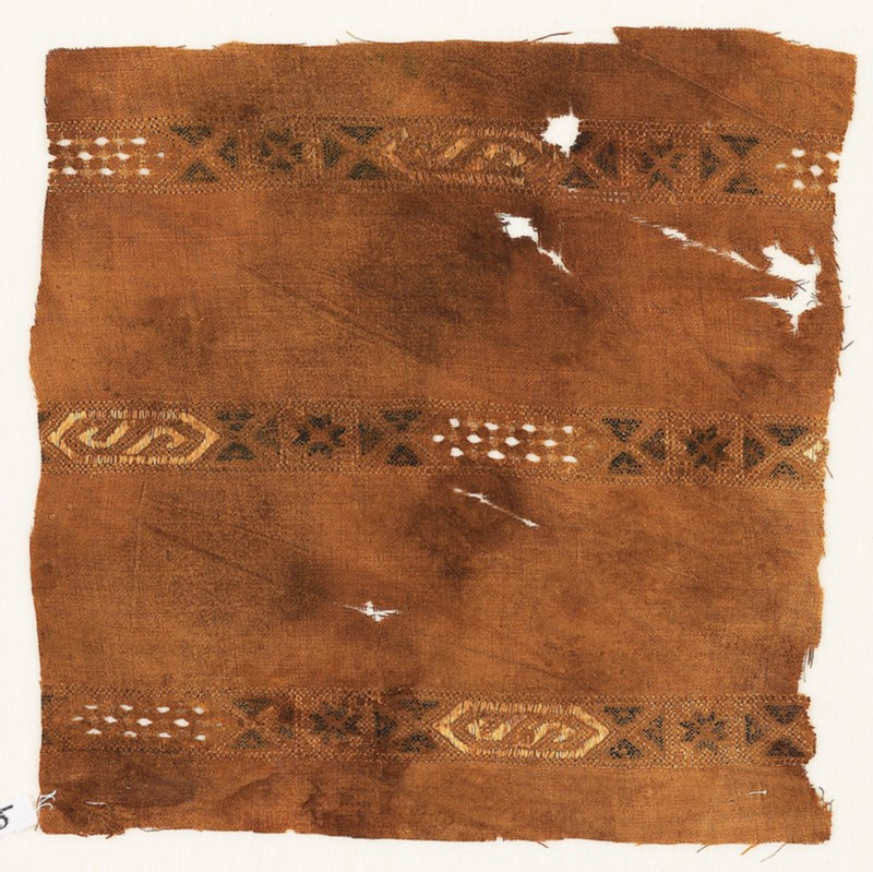 Textile fragment with three bands with hexagonal cartouches (EA1984.475, front            )