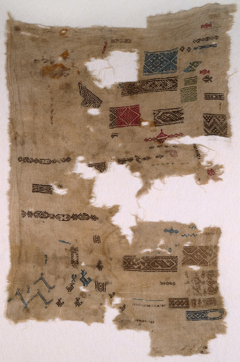 Sampler fragment with chevrons, birds, and fish (EA1984.479, front            )