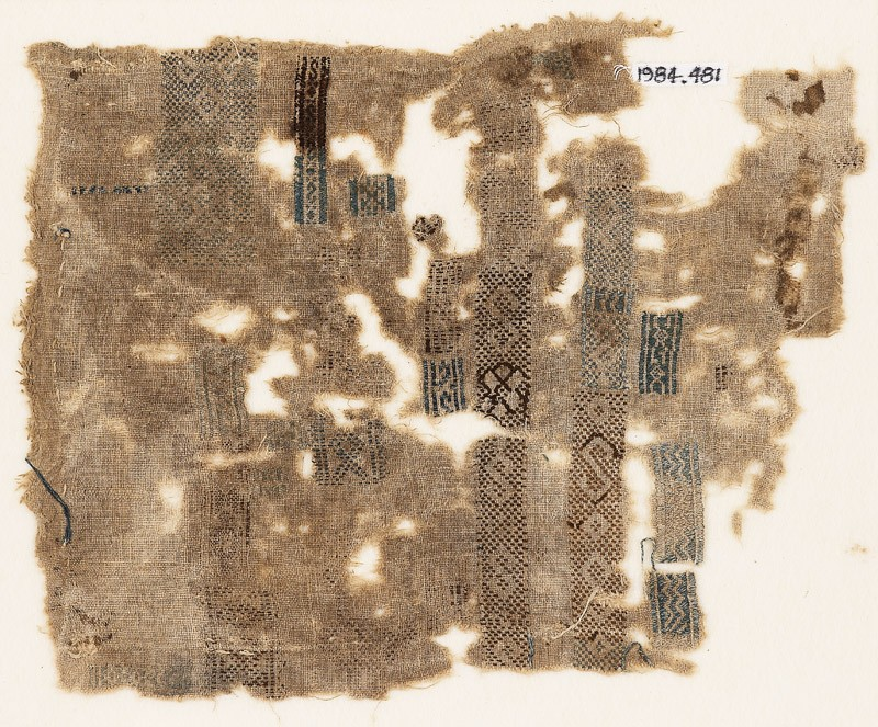 Sampler fragment with bands and rectangles (EA1984.481, front            )