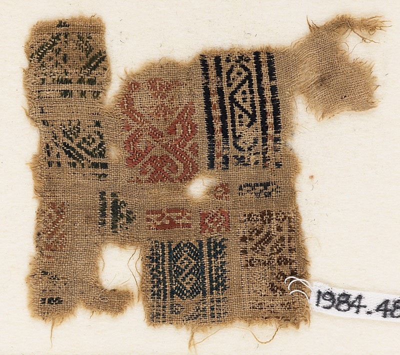 Sampler fragment with bands of S-shapes and triangles (EA1984.482, front            )