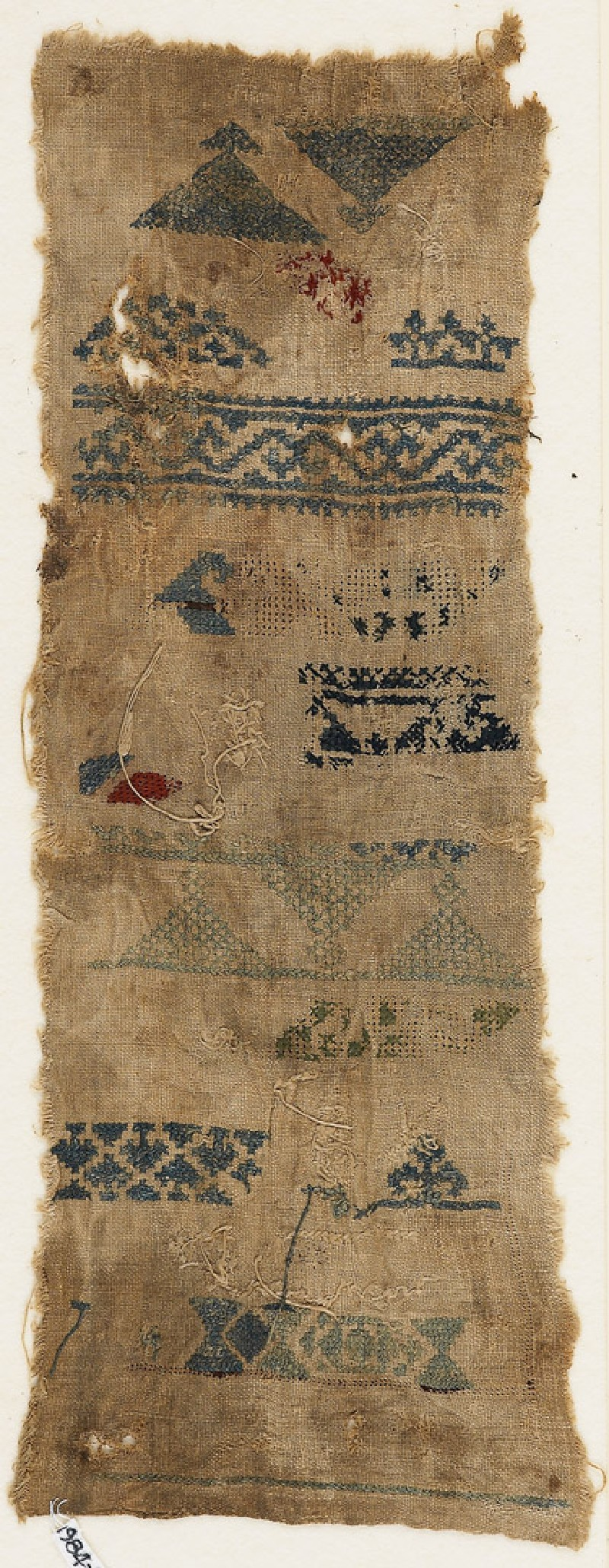 Sampler fragment with bands, triangles, and hexagons (EA1984.485, front            )