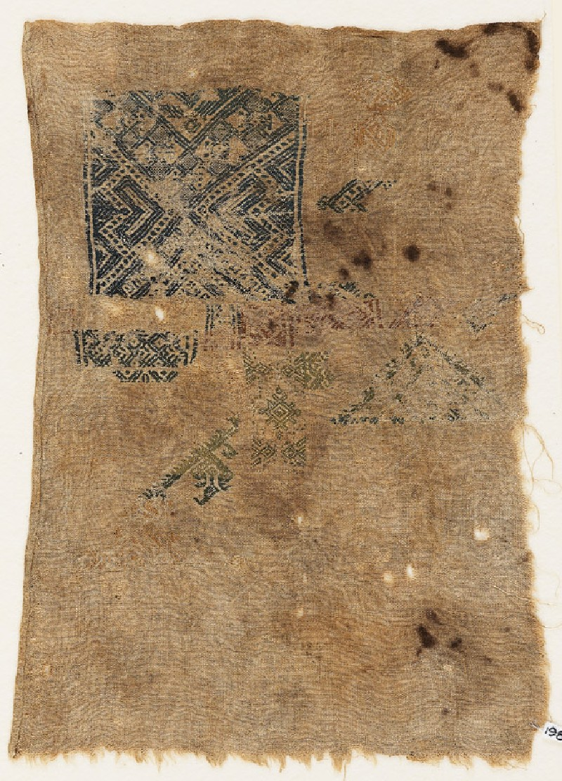 Sampler fragment with arrows, squares, and bird