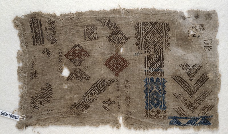 Sampler fragment with diamond-shapes and chevrons