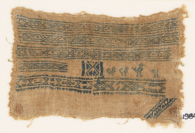 Sampler fragment with bands of diamond-shapes and ovals (EA1984.497, front            )