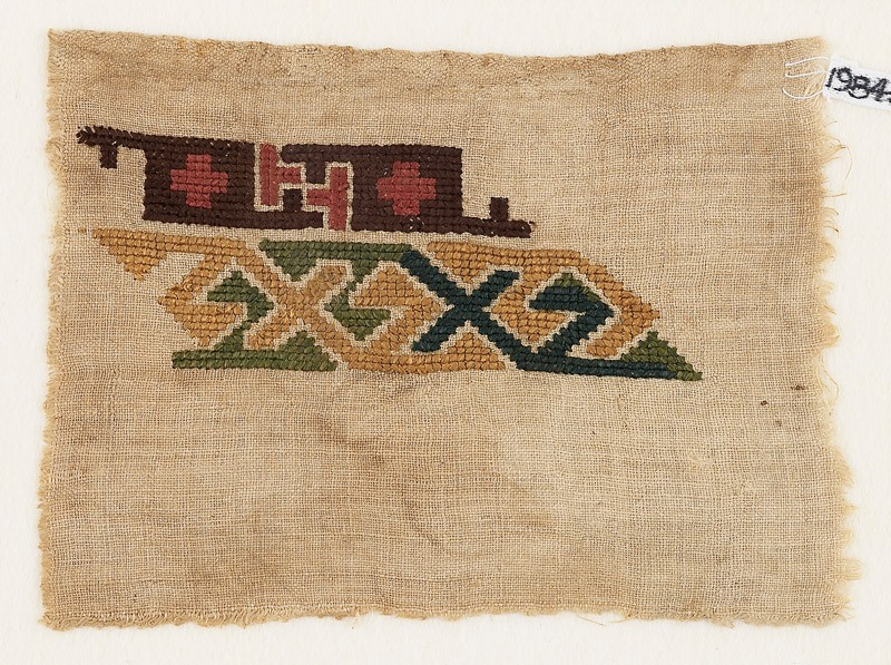 Sampler fragment with hooks and crosses (front            )