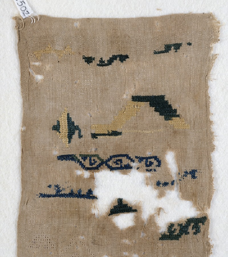 Sampler fragment with scrolls (front            )