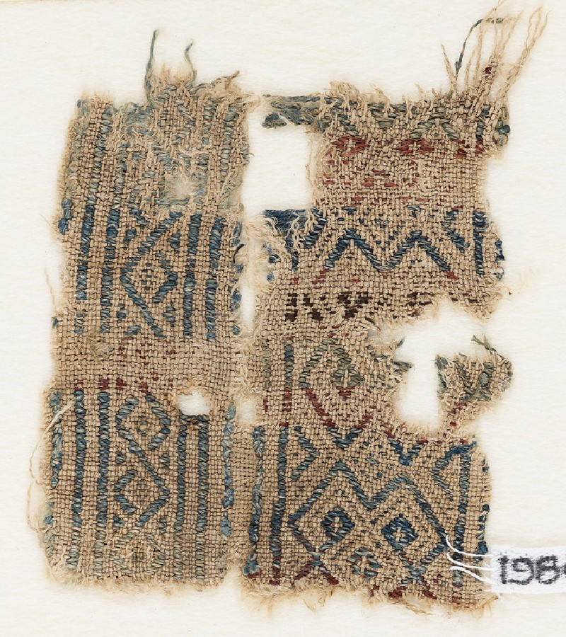 Textile fragment with diamond-shapes and hooks (EA1984.506, front            )