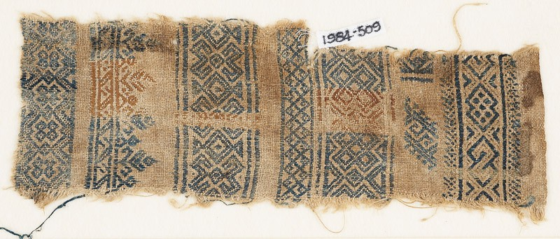 Sampler fragment with crosses and diamond-shapes