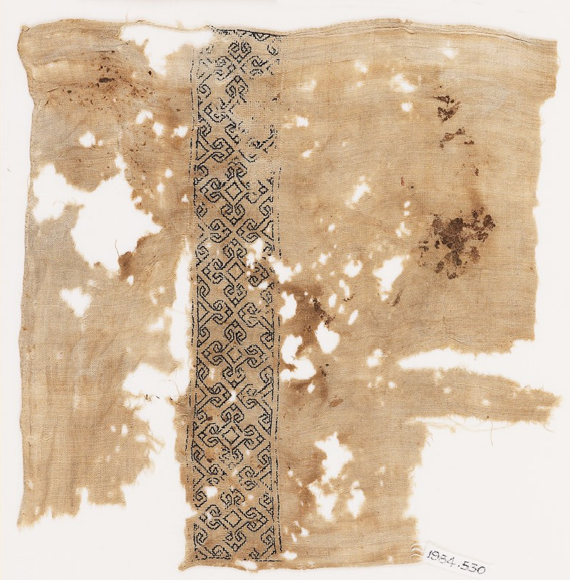 Textile fragment with quatrefoils, possibly from a sash