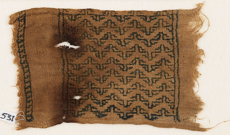 Textile fragment with band of chevrons