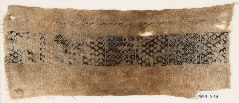 Textile fragment with band of diamond-shapes and chevrons (EA1984.533, front            )