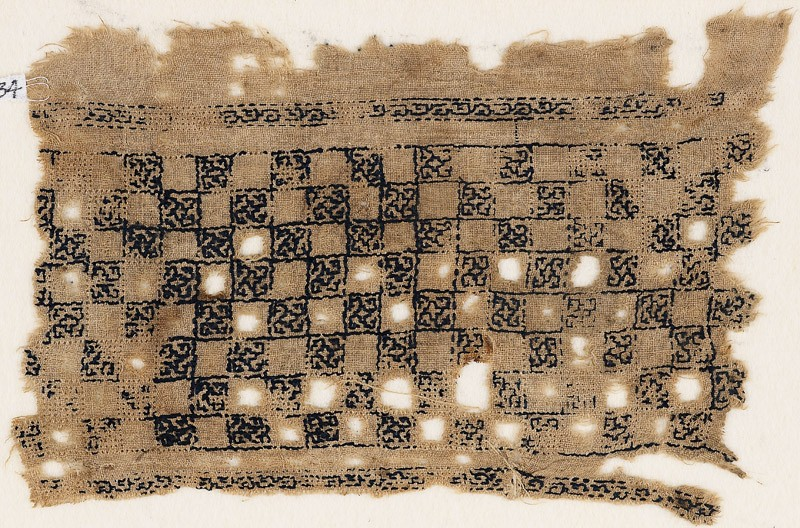 Textile fragment with linked squares (EA1984.534, front            )