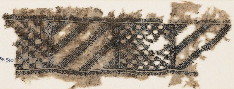 Textile fragment with linked squares and quatrefoil rosette