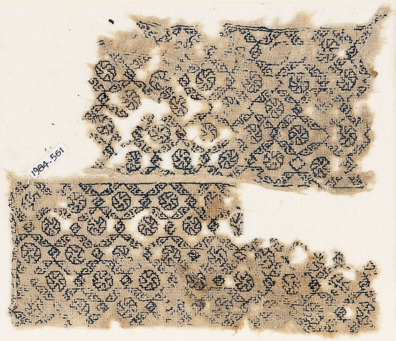 Textile fragment with diagonal grid containing rosettes (EA1984.561, front            )