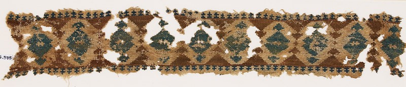 Textile fragment with band of diamond-shapes
