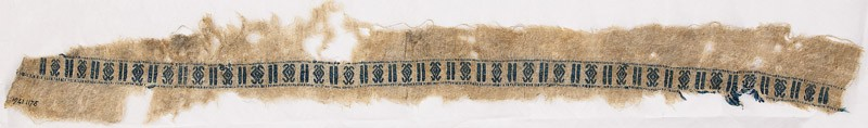 Textile fragment with diamond-shapes with hook finials