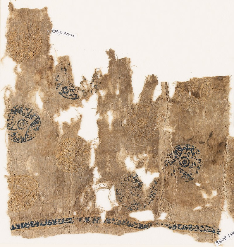 Textile fragment with circles containing lozenges (EA1984.608.a, front              )