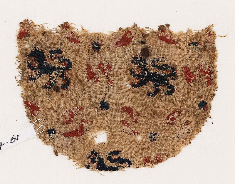 Textile fragment with lions (EA1984.61, front           )