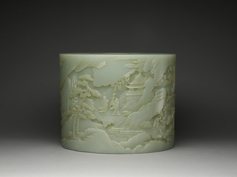 Jade brush pot with a mountain landscape