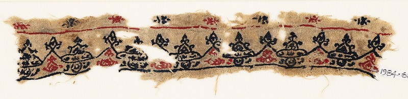 Textile fragment with triangular peaks, trefoils, and hearts
