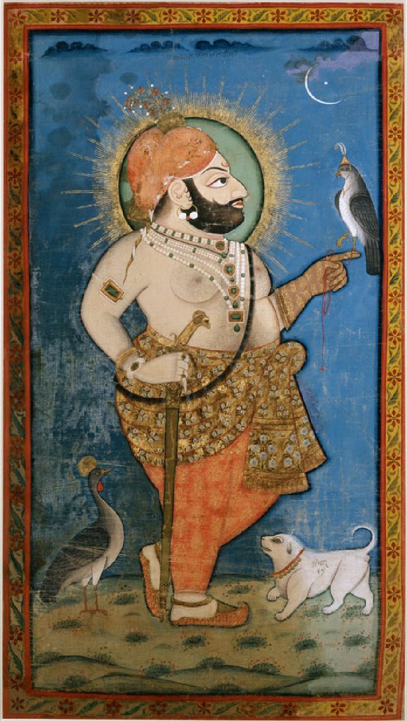 Maharana Bhim Singh with a hawk (EA1985.31, front           )
